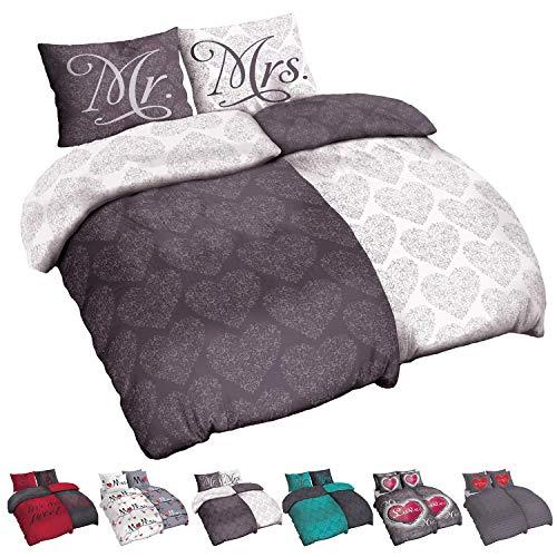 Niceprice Partner Bettwäsche in 10 schönen Designs Microfaser 135x200, 155x220, Mr. und Mrs. Classic Anthrazit 2X 135x200 cm 2X 80x80 cm