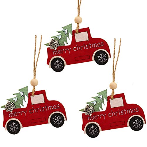 Lemoning Christmas Decorations for Living Room, 3Pc Wooden Hanging Christmas Tree Cabin Elk Car Ornament Xmas Party Home Decor