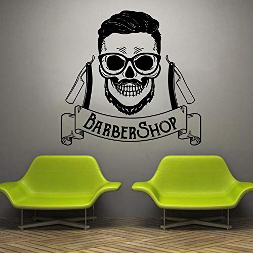 Wopiaol Mann Bart Barbershop muurtattoo haarknit etalage vinyl sticker beauty salon gezicht kapsalon kapsel sticker waterdicht