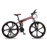 Novokart-Plegable Deportes/Bicicleta de montaña 24 Pulgadas 6 Cortador, Rojo