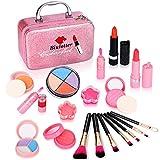 Biulotter 21pcs Kids Makeup Kit for Girls Real Kids Cosmetics Make Up Set with Cute Cosmetic Bag, Eyeshadow/Lip Gloss/Blush, Washable Play Makeup for Little Girls Xmas Birthday (Pink)