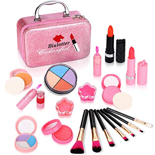 Biulotter 21pcs Kids Makeup Kit for Girls Real Kids Cosmetics Make Up Set with Cute Cosmetic Bag, Eyeshadow/Lip Gloss/Blush, Washable Play Makeup for Little Girls Xmas Birthday (Black)