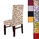 SHZONSSuper Fit Stretch Removable Washable Short Dining Chair Cover Protector Seat Slipcover for Hotel,Dining Room,Ceremony,etc.(ChampagneCoffee)