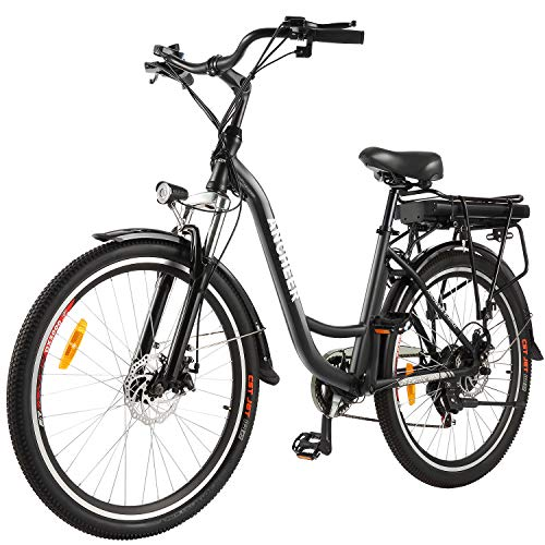 ANCHEER 26' Electric Bike, City Ebike Cruiser with Removable 12.5Ah Battery Integrated in Rear Frame 30 Miles Range Dual Disc Brakes (Black)