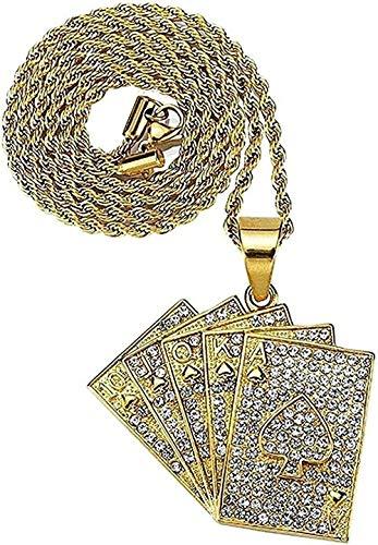 LBBYLFFF Collar de Acero Inoxidable Personalizado Naipes Colgante Corazones Cartas de póquer Collar para Hombres Regalo Club joyería Oro Moda Cadena niñas niño Collar