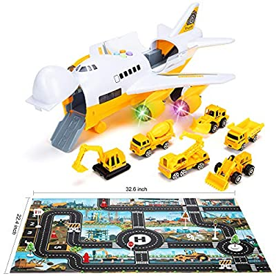 Car Toys Set with Transport Cargo Airplane and Large Play Mat, Educational Vehicle Construction Car Set for Kids Toddler Boys Child Gift for 3 4 5 6 Years Old, 6 Cars, Large Plane, 11 Road Signs from SAITI