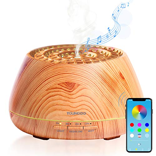 Essential-Oil-Diffuser-with-Bluetooth-SpeakerYOUNGDO-400ml-Wood-Grain-Aroma-DiffuserUltrasonic-Scented-Oil-Diffuser14-Colors-LED-LightsWaterless-Auto-Shut-off-for-Office-Home-Baby-Bedroom-Yoga-Spa