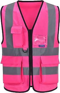 Chalecos de seguridad Alta Visibilidad Trabajo fluo (XL, Rosa)