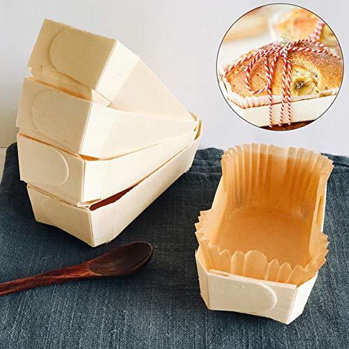 Steellwingsf Backwerkzeug – 10 Stück/Set (5+5) Basic Rechteckform Backen Kuchen Brot Backform Ölfest Papier Muffin Tray weiß