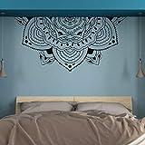 LSMYM Méditation moitié Mandala Wall Art Mural moitié tête de lit décalcomanies moitié Mandala fleur Wall Sticker chambre décor gris 117X57 cm