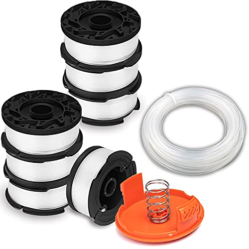 String Trimmer Spool & Line compatible with Black and Decker Grass Trimmers, 30ft 0.065in. Auto-Feed Spool Replacement, String Trimmer Parts, Includes Extra Free 50ft Grass Trimmer Wire (Pack of 10)