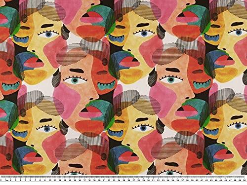 Zanderino A partire da 1 m: tessuto decorativo, 3 caras, cotone, multicolore, larghezza 140 cm