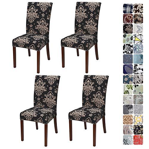 JOTOM Stuhlhussen Universal Stretch Stuhlbezug Elastische Moderne Stuhl Hussen Set Abnehmbare Dekoration Stuhlabdeckung für Esszimmer Party Hotel Restaurant Deko (Barock, 4er Set)