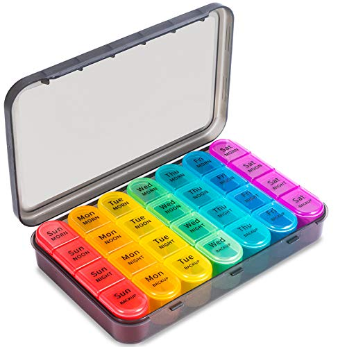 Daviky Pill Organizer 4 Times a Day, Large Weekly Pill...
