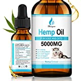 Hemyum Hemp Oil for Dogs & Cats - Rich in Omega 3-6-9 | Calming Aid & Pain Relief for Hip & Joint Pain, Inflammation, Anxiety and Stress 5000MG
