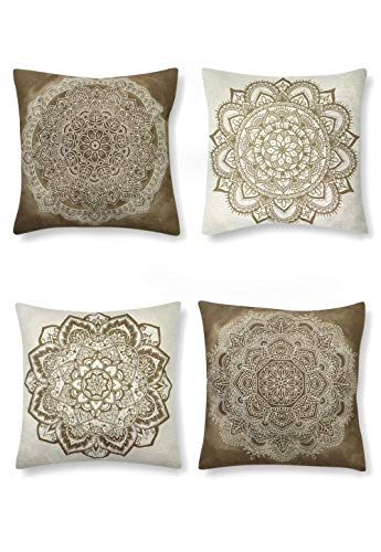 SUMGAR Beige Coffee Mandala Throw Kissenbezüge Indian Boho Pattern Square Kissenbezüge Bohemian Kissenbezüge für Wohnzimmer Schlafsofa Auto mit unsichtbarem Reißverschluss 45x45cm 4er Pack