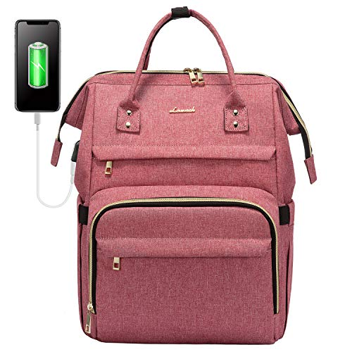 Laptop Backpack for Women Fashion Travel Bags Business Computer Purse Work Bag with USB Port, Light-Red