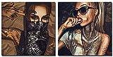 Impresión En Lienzo Mujer Tatuada con Gafas Y Carteles De Máscaras Arte De La Pared Impresiones En Lienzo Sin Imágenes Enmarcadas para La Sala De Estar Moderno 2 Piezas