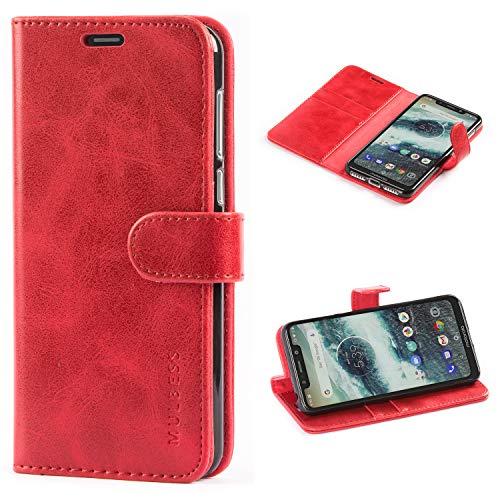 Mulbess Cover per Motorola One, Custodia Pelle con Magnetica per Motorola One [Vinatge Case], Vino Rosso