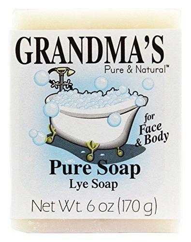 Grandma's Pure Lye Soap Bar - 6.0 oz Unscented Face & Body Wash Cleans with No...