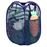 Strong Mesh Pop-up Laundry Hamper, Quality Laundry Basket with Durable Handles Solid Bottom High Carbon Steel Frame, Easy to Open and Fold Flat for Storage, Odors & Moisture Proof, Blue