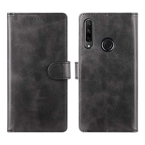 CRESEE Honor 9X Hülle, PU Leder Schutzhülle mit 3 Kartenfächer, Case Tasche Magnetverschluss Flip Cover Standfunktion Stoßfest Brieftasche Handyhülle für Huawei Honor 9X (Schwarz)