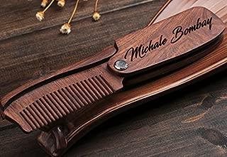 Personalized Folding Wooden Comb - Men's Beard, Mustache & Hair