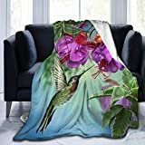 FeHuew Hummingbirds Fuchsia Flowers Soft Throw Blanket 40x50 inch Lightweight Flannel Fleece Blanket for Couch Bed Sofa Travelling Camping for Kids Adults