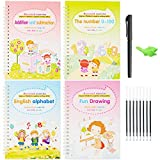CY2SIDE 14PCS Calligraphy Copybook Set for Kids, 4 Magic Calligraphy Books that Can be Reused, Children Handwriting Copybook, Reusable Workbooks for Toddlers, Calligraphic Letter Mathematics Practice