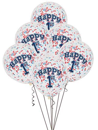 Unique Party- Globos Confeti Fiesta de Primer Cumpleaños de Niños Náuticos, Paquete de 6 (58185)