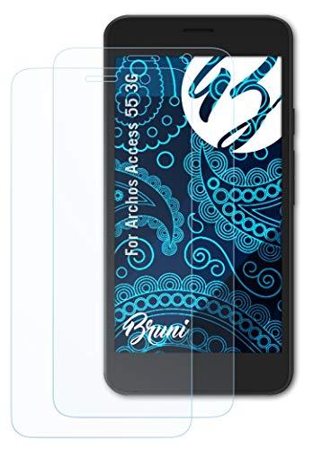 Bruni Schutzfolie kompatibel mit Archos Access 55 3G Folie, glasklare Bildschirmschutzfolie (2X)