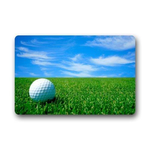 Elsaone Fußmatte Weißer Golfball Auf dem Golfplatz Blauer Himmel Fußmatte Teppich Innen/Außen/Vordertür/Badezimmermatten Fußmatte 23.6inch X 15.7inch