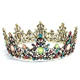 Tiara For Women, Exacoo Baroque Vintage Queen Crown Party Headband Crown Crystal Tiaras Bridal Crown Wedding Birthday Prom Queen Pageant Hair Accessories