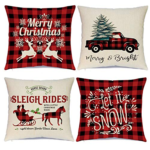 Hlonon Christmas Pillow Covers 18 x 18 Inches Set of 4 - Xmas Series Cushion Cover Case Pillow Custom Zippered Square Pillowcase (2 Christmas)