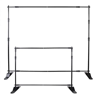 Happybuy Banner Stand Adjustable Step and Repeat Stand Trade Show Booth 8'x8' to 8'x10' Jumbo Telescopic Background Stand Wall Exhibitor Display Photographic (10 ft Banner Stand)