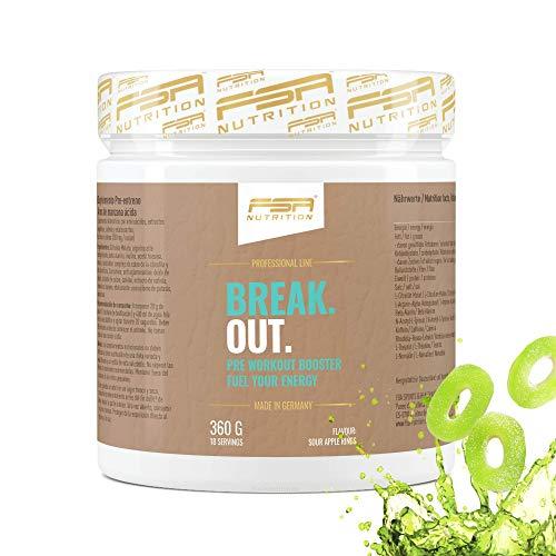Pre Workout Booster Saure Apfel-Ringe mit Arginin AAKG, L-Citrullin, Beta Alanin und Koffein, Made in Germany - FSA Nutrition - 360 g