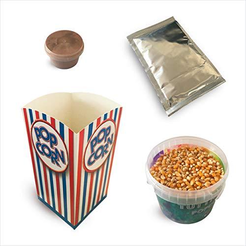 Kit ingredienti per la preparazione di 10 'spadellate' di popcorn al gusto Cioccolato + 10 bicchieri in cartone stile cinema