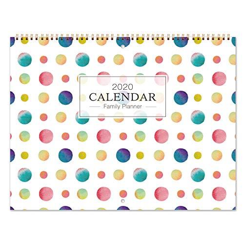 Calendario 2020 / Agenda di Famiglia - Mese da Visualizzare Organizzatore di Famiglia 2020 con Passante per Penna, Tasca Interna, Doppia Rilegatura a Filo, 6 Blocchi Rigati al Giorno, 39X58cm (Aperto