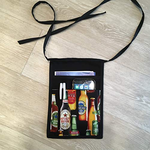 Black I pad mini, Hip Side Apron money Pouch Waitress pockets.Guest book durable organizer pen Check out all 51 prints @(Handmade Janet aprons) BEER Restaurant Bars Cafes Janet