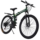 Folding Mountain Bike, 26 inch 21 Speed MTB Bicycle Double Disc Brake Non-Slip Full Suspension MTB Road Bicycle with High Carbon Steel Sports Wheels for Adults Teens Men Women