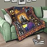Flowerhome Halloween Kürbis Totenkopf Tagesdecke Steppdecke Bettdecke Bettüberwurf Sofadecke Couchdecke Schlafdecke Wendedecke für Sofa Couch Bett White 100x150cm