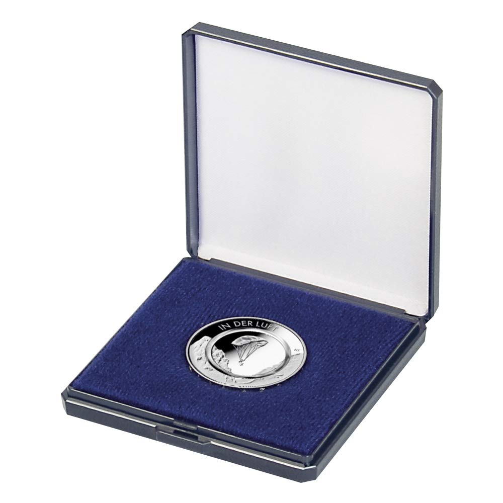 Estuche de monedas con espuma push-in [Lindner 2027] para monedas de hasta Ø 50 mm, azul: Amazon.es: Juguetes y juegos