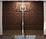 Ambesonne Basketball Curtains, Old Brick Wall and Basketball Hoop Rim Indoor Training Exercising Stadium Picture, Living Room Bedroom Window Drapes 2 Panel Set, 108' X 84', Brown