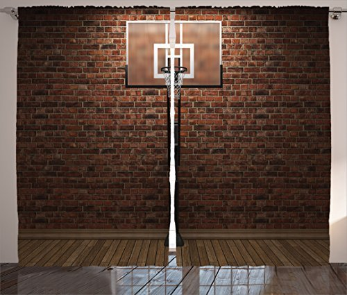 """Ambesonne Basketball Curtains, Old Brick Wall and Basketball Hoop Rim Indoor Training Exercising Stadium Picture, Living Room Bedroom Window Drapes 2 Panel Set, 108"""" X 84"""", Brown"""