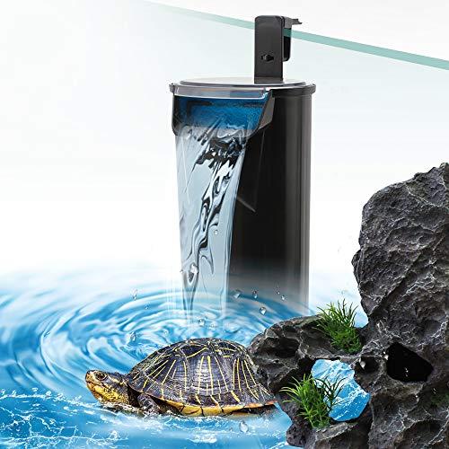 SENZEAL Schildkröte Niedriger Wasserstand Wasserfallfilter Pumpe Aquarium Interner Filter 5W 220V/50Hz 400L/H Niedriger Wasserstand reinigen für Aquarium Reptilien Amphibie - Schwarz