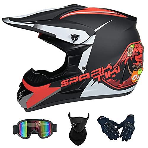 Casco Motocross Infantil, Casco Moto Niño Dot Aprobado Casco Enduro Integral MTB...
