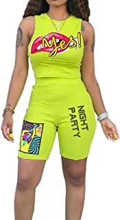 FSSE Women Casual Regular Fit Sleeveless Print Tank Top & Shorts Outfits 2 Pcs Set