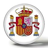 Hqiyaols Souvenir Bandera Nacional de España 3D Imán de Nevera Imanes de Nevera Círculo de Cristal Etiqueta Colección de Recuerdos Regalo de Viaje