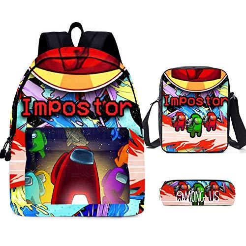 ZBK Game AMONG US Schulranzen-Set, Laptop-Rucksack mit Schultertasche und Federmäppchen für Jungen und Mädchen, 9 Farben Gr. M, C