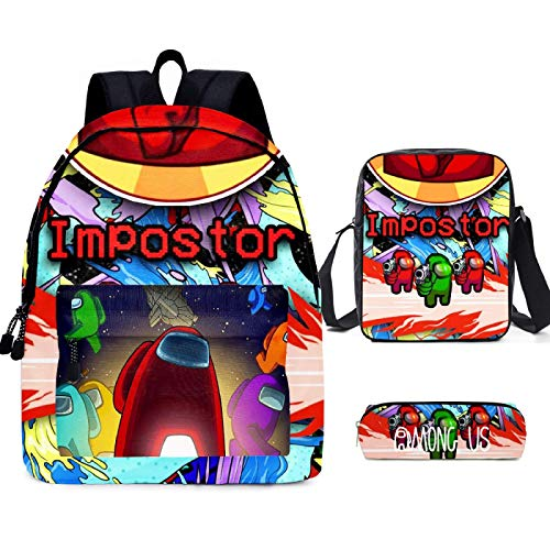 ZBK Game AMONG US Theme School Bag Set,Laptop Backpack With Shoulder Bag And Pencil Case For Boys And Girls-9 Colors